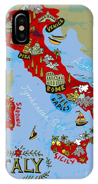 Illustrated Map Of Italy. Travel Phone Case by Daria i