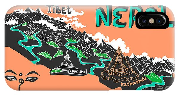 Buddhism iPhone Case - Illustrated Map Of Nepal by Daria i