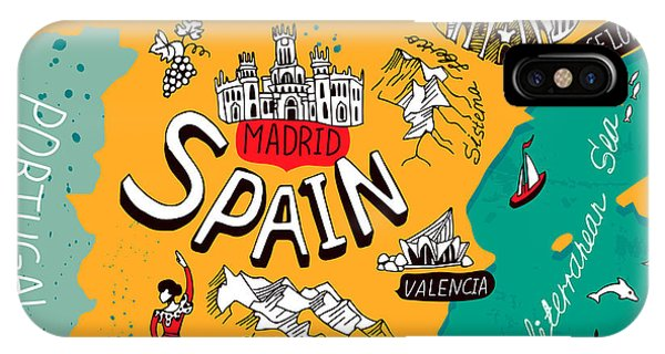 Dolphin iPhone Case - Illustrated Map Of Spain by Daria i