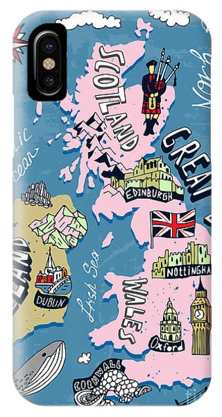 Irish iPhone Case - Illustrated Map Of The Uk And Ireland by Daria i