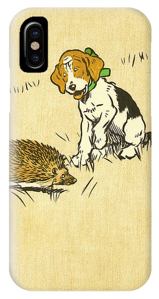 Puppy And Hedgehog, Illustration Of IPhone Case