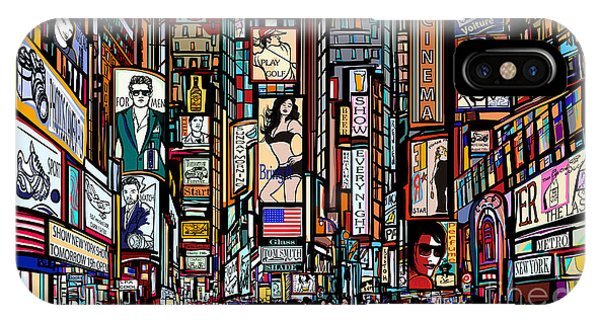 Famous People iPhone Case - Illustration Of A Street In New York by Isaxar