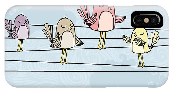 Avian iPhone Case - Illustration Of Birds On Wires by Lyeyee