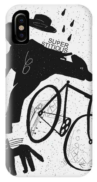 Danger iPhone Case - Image Of A Cyclist Who Was Scared Of A by Dmitriip