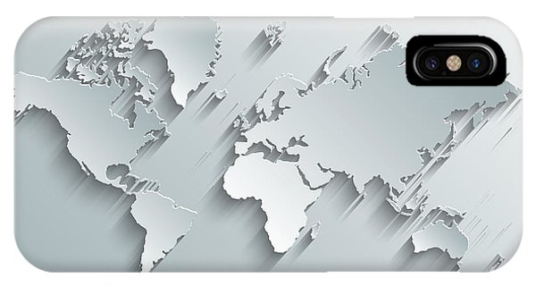Shadow iPhone Case - Image Of A Vector World Map by Juliann