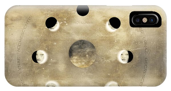 Half Moon iPhone Case - Imagine Of The Lunar Phases With Sun by Valentina Photos