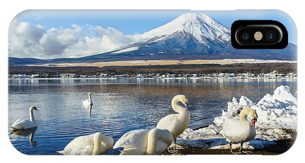 White Mountains iPhone Case - In The Morning, The White Swan In Front by Fong ch
