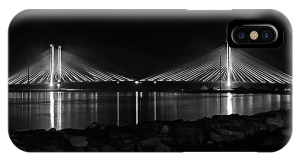 Indian River Bridge After Dark In Black And White IPhone Case