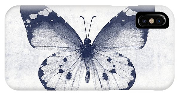 Insect iPhone Case - Indigo And White Butterfly 1- Art By Linda Woods by Linda Woods