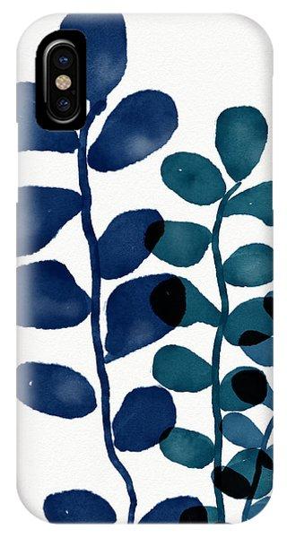 Watercolor iPhone Case - Indigo Eucalyptus 1- Art By Linda Woods by Linda Woods
