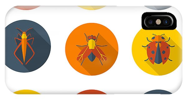 Bee iPhone X Case - Insects Flat Icons by Sly Raccoon