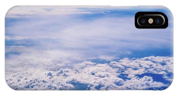 Intense Blue Sky With White Clouds And Plane Crossing It, Seen From Above In Another Plane. IPhone Case