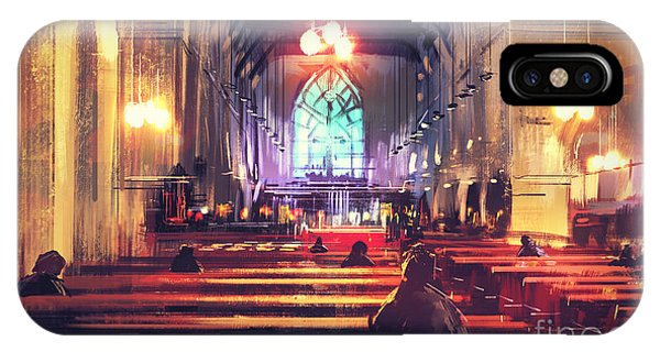 Christianity iPhone Case - Interior View Of A Church,digital by Tithi Luadthong