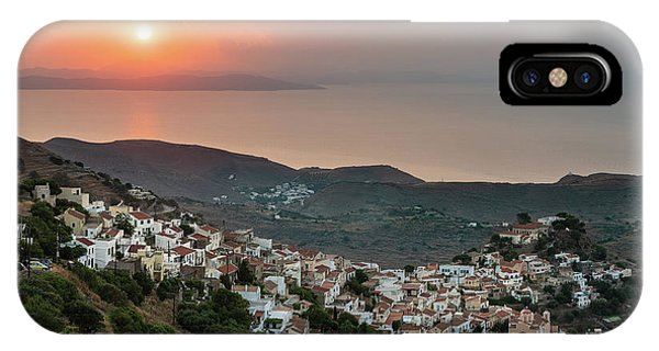 IPhone Case featuring the photograph Ioulis Town Sunset, Kea by Milan Ljubisavljevic