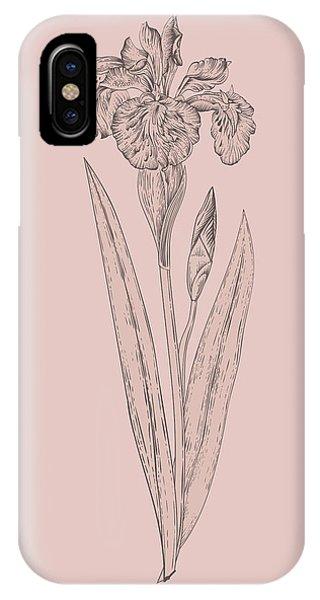 Bouquet iPhone X Case - Iris Blush Pink Flower by Naxart Studio