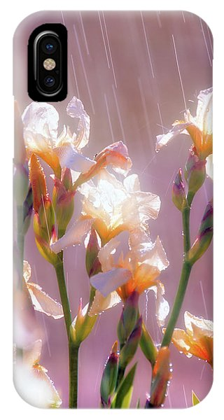 IPhone Case featuring the photograph Iris In Rain by Leland D Howard