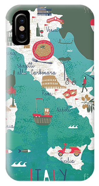 Hot iPhone Case - Italy Map Print Design by Lavandaart