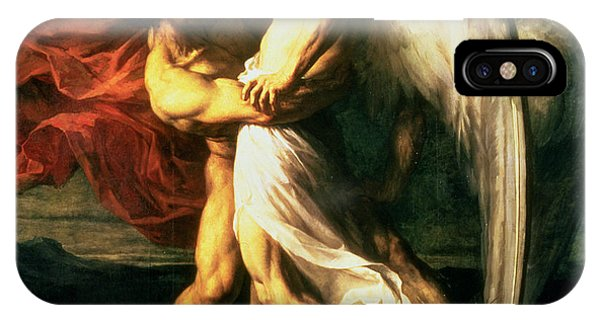 Struggle iPhone Case - Jacob Wrestling With The Angel, 1865  by Alexandre Louis Leloir