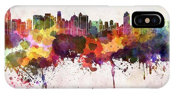 Jakarta Skyline In Watercolor Background Phone Case by Cristina Romero Palma