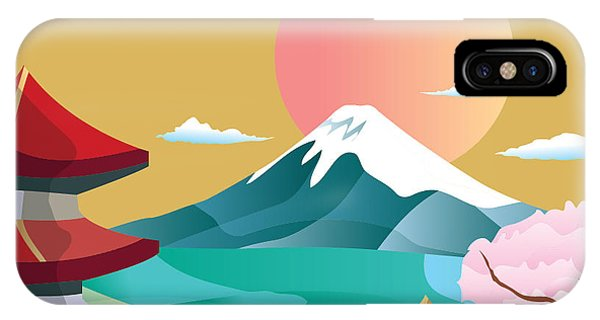 Culture iPhone Case - Japan Style Buildings And Fuji Mountain by Takiwa