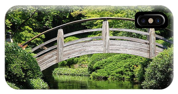 IPhone Case featuring the photograph Japanese Garden Arch Bridge In Springtime by Debi Dalio