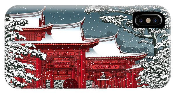 Buddhism iPhone Case - Japanese Or Chinese Temple Under Snow - by Isaxar