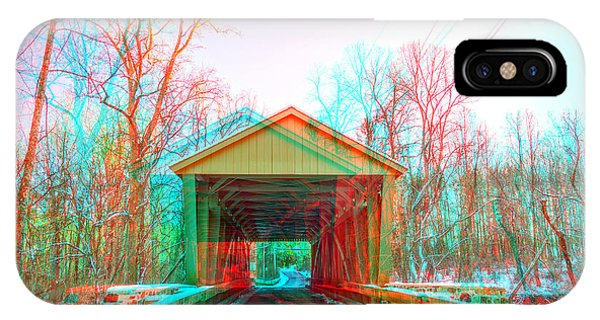 Kingsville iPhone Case - Jericho Covered Bridge 3d Anaglyph by Brian Wallace