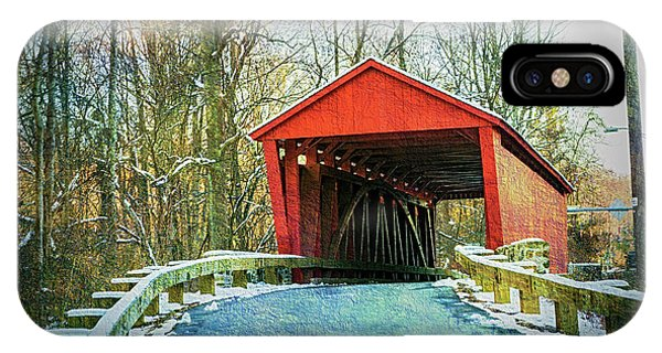 Kingsville iPhone Case - Jericho Covered Bridge Textures by Brian Wallace