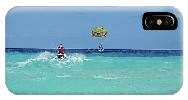 Jet Ski iPhone Case - Jet Skiing On The Beautiful Blue Water Of Cancun Beach Cancun Mexico by Toby McGuire