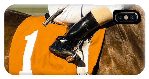 Strength iPhone Case - Jockey Rides Horse Along Track by Christopher Boswell
