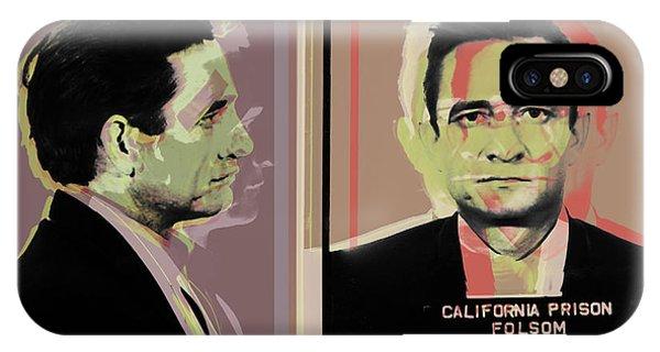 Johnny Cash iPhone Case - Johnny Cash Mugshot Pop Art Warhol Style by Jean luc Comperat