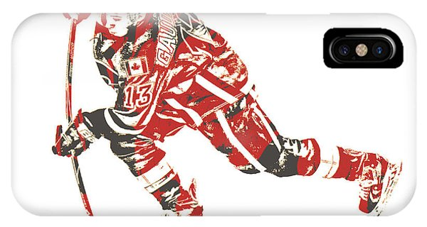 Winter iPhone Case - Johnny Gaudreau Calgary Flames Pixel Art 3 by Joe Hamilton