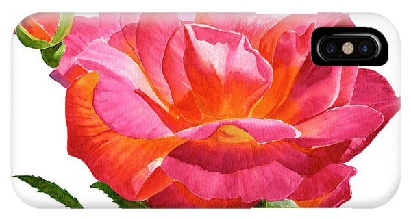 Violet iPhone Case - Josephs Coat Rose With Buds On White by Sharon Freeman