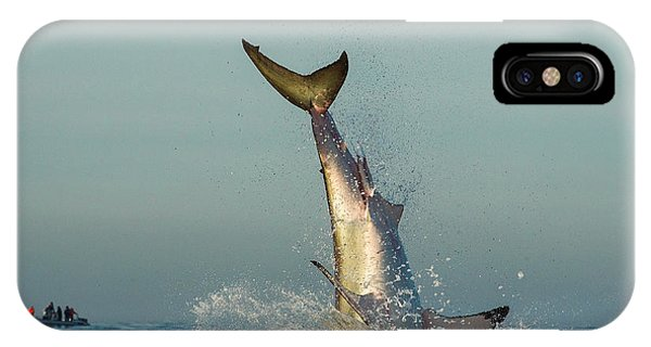 Fins iPhone Case - Jumping Great White Shark. Tail Of The by Sergey Uryadnikov