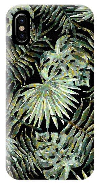 Jungle Dark Tropical Leaves IPhone Case