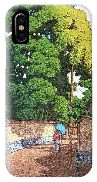 Umbrella Pine iPhone Case - Kanazawa Shimohonda Town, Noon, The Series Souvenirs Of Travel II by Kawase Hasui