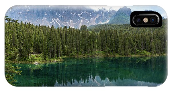 IPhone Case featuring the photograph Karersee And Latemar by Andreas Levi