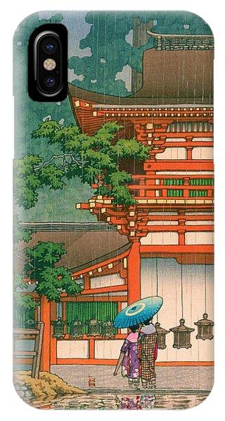 Umbrella Pine iPhone Case - Kasugataisha - Top Quality Image Edition by Kawase Hasui