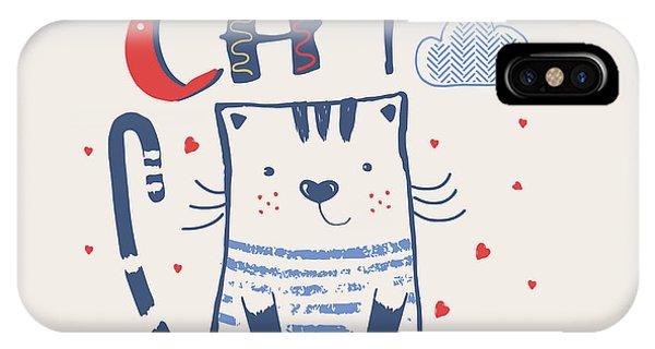 Cute Kitten iPhone Case - Kathand Drawn Vector Illustration Of by Eteri Davinski
