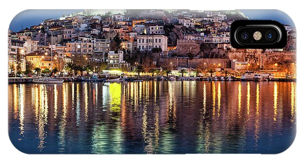 IPhone Case featuring the photograph Kavala Town At Night by Milan Ljubisavljevic