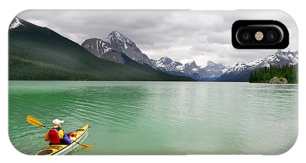 Kayaking In Banff National Park, Canada Phone Case by Oksana.perkins