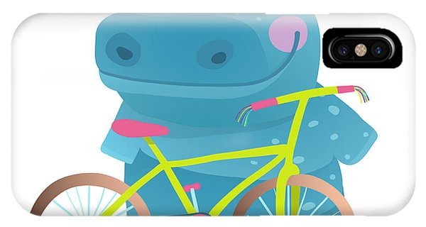 Vector Graphics iPhone Case - Kid Cute Hippo With Bicycle Childish by Popmarleo