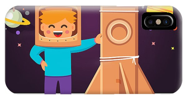 Astronaut iPhone Case - Kid Making Cardboard Box Rocket And by Iconic Bestiary
