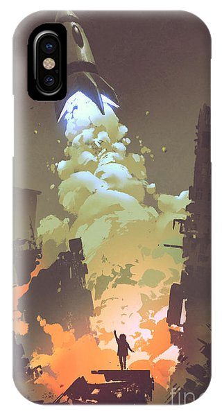 Space iPhone Case - Kid Waving Goodbye And Standing In by Tithi Luadthong