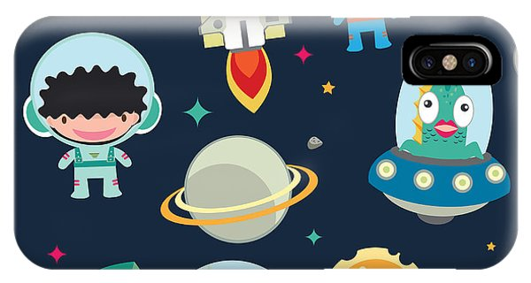 Astronaut iPhone Case - Kids Space Seamless Pattern by Moobeer