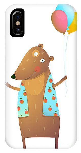 Vector Graphics iPhone Case - Kids Teddy Bear With Balloons Colorful by Popmarleo