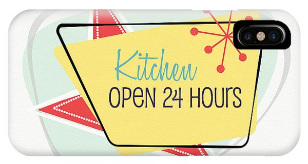 Kitchen iPhone Case - Kitchen Open 24 Hours- Art By Linda Woods by Linda Woods