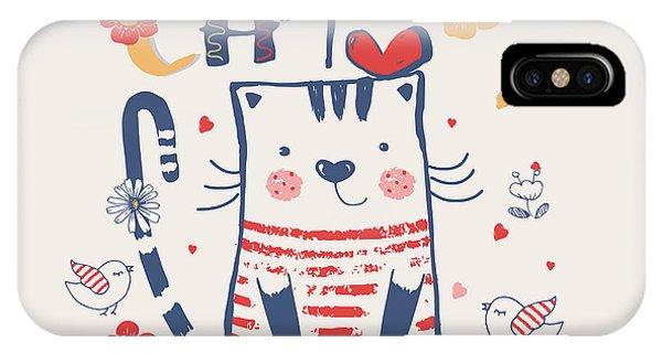 Cute Kitten iPhone Case - Kittenhand Drawn Vector Illustration Of by Eteri Davinski