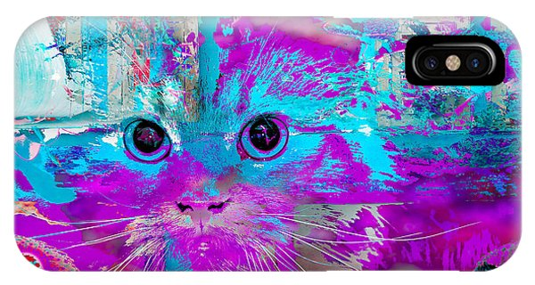 IPhone Case featuring the digital art Kitty Collage Blue by Don Northup