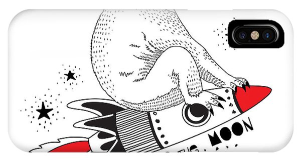 Space iPhone Case - Koala Flying On The Rocket To The Moon by Olga angelloz